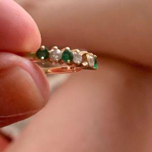 18k Gold Emerald Diamond Ring Sz 6.5